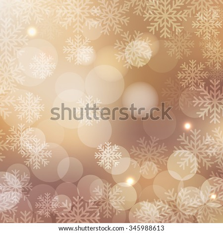 Christmas and New Year holidays beige background bokeh effect with defocused lights and snowflakes. Vector illustration EPS10 - stock vector