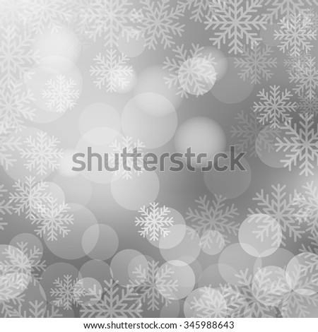 Christmas and New Year holidays silver background bokeh effect with defocused lights and snowflakes. Vector illustration EPS10 - stock vector