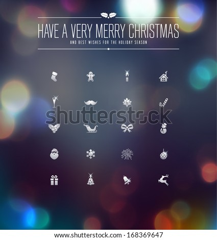 Christmas and New Year Icons collection over defocused background - stock vector