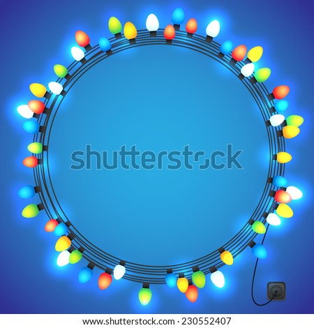 Christmas and New year light garlands like frame on a blue background, vector. - stock vector