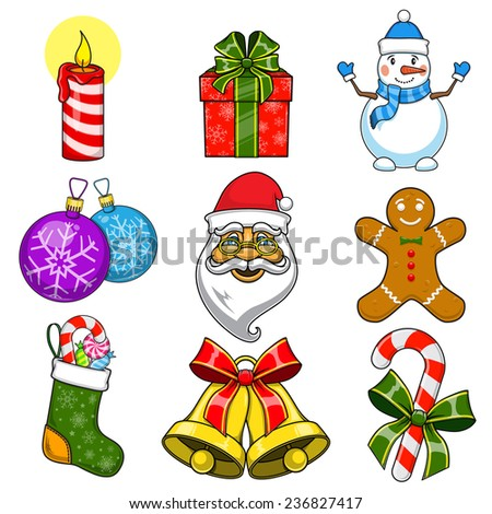Christmas and New Year objects. Traditional design elements collection. Eps 10 vector illustration. - stock vector