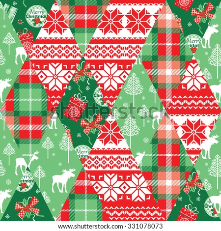 Christmas and New Year patchwork seamless background. Vector Design Templates Collection for Banners, Flyers, Placards, Posters and other use. - stock vector