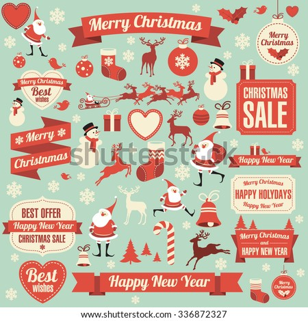 Christmas and new year retro vector design element collection. - stock vector