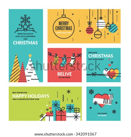Christmas and New Year's collection. Flat line design vector illustrations for greeting cards, website banners and badges, gift tags and marketing material. - stock vector