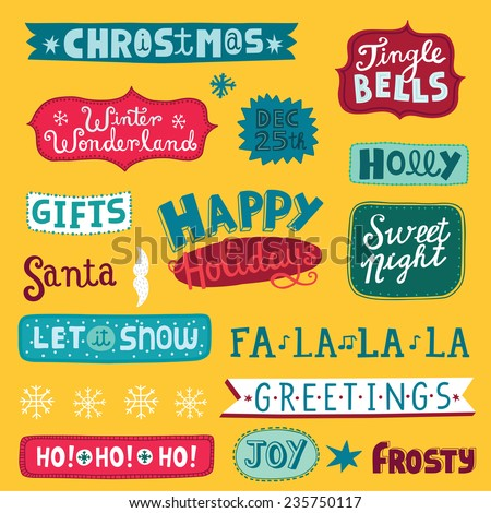 Christmas and New Year's lettering. Set of calligraphic and typographic elements, frames, vintage labels. Holiday background. - stock vector