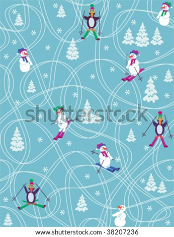 Christmas and new year - seamless pattern with cartoon figures - stock vector