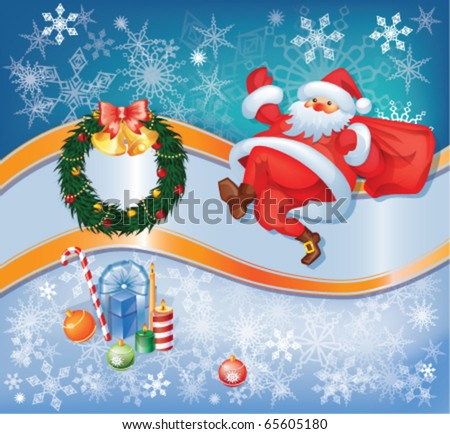 Christmas and New Year set  with Santa and decorations. eps10 - stock vector