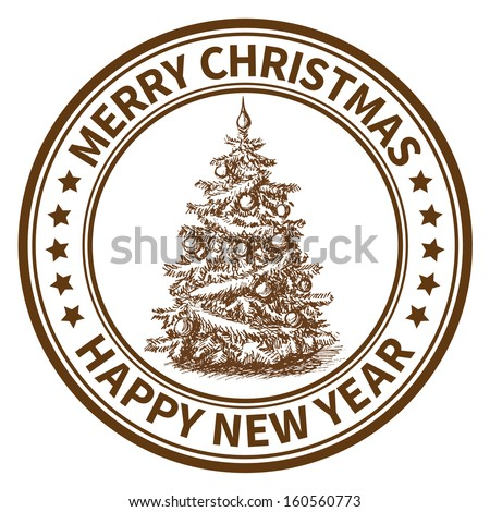 Christmas and New Year stamp with the Christmas tree - stock vector
