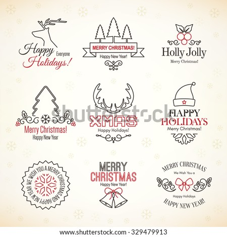 Christmas and New Year symbols for designs postcard and invitation - stock vector
