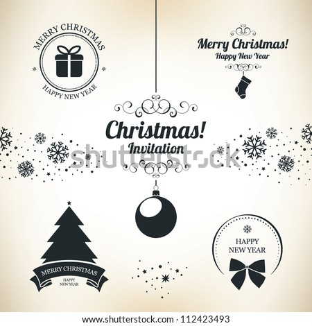Christmas and New Year symbols for designs postcard, invitation, poster and others - stock vector