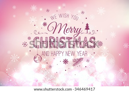 Christmas And New Year Typographical on Pink Xmas background with snowflakes, light, stars. Vector Illustration. Xmas card - stock vector