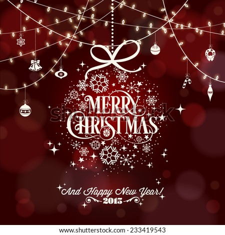 Christmas And New Year Typographical Red Background With Snowflakes - stock vector