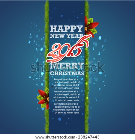 Christmas and New Year. Vector greeting card. 2015 - stock vector