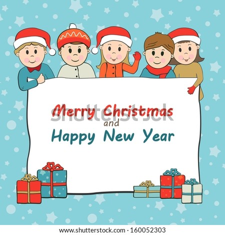 Christmas and New Year vector Greeting concept with kids wearing Santa cap - stock vector