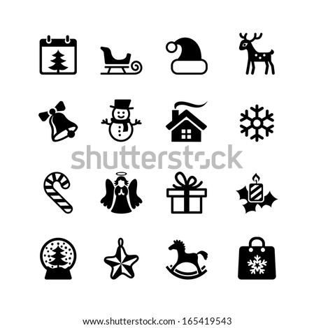 Christmas and New Year. Web icon set - stock vector