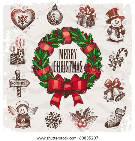 Christmas and New years holidays vector hand drawn illustration - stock vector