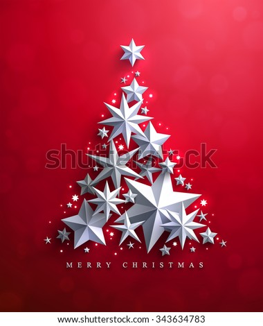 Christmas and New Years red background with Christmas Tree made of cutout paper stars. - stock vector
