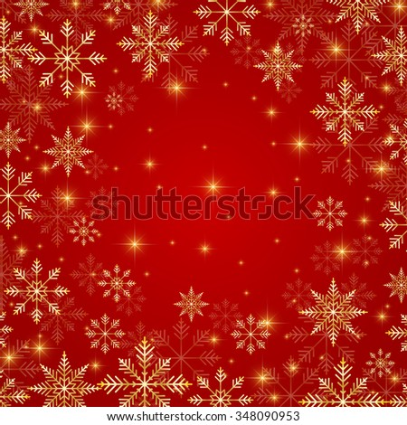 Christmas and New Years red background  with golden snowflakes. Vector illustration. - stock vector