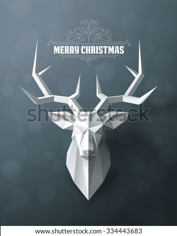 Christmas and New Years red background with Triangular Paper deer head. - stock vector