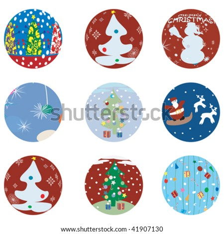 Christmas and NewYears Eve icons collection - stock vector