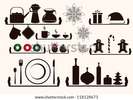 Christmas and Winter  kitchen utensils icons collection - vector silhouette - stock vector