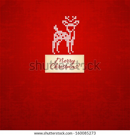 Christmas and Winter knitted  card - stock vector