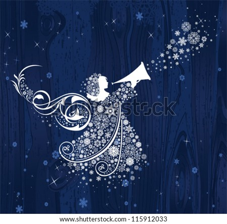 Christmas Angels. All elements and textures are individual objects. Vector illustration scale to any size. - stock vector