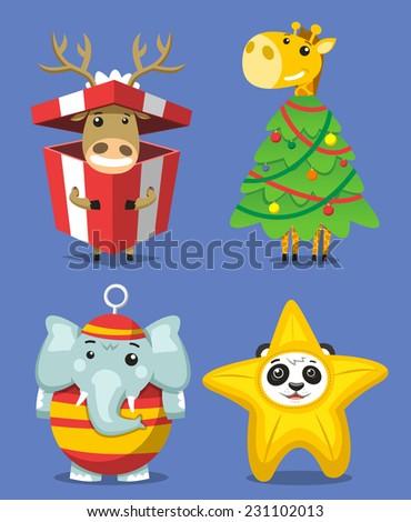 Christmas Animals, reindeer in a christmas present box, giraffe christmas tree, elephant christmas ornament, koala bear star. Vector illustration cartoon.  - stock vector