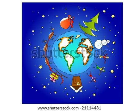 Christmas around the world; Santa bringing presents - stock vector