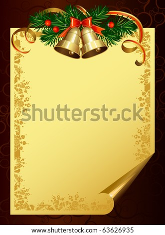Christmas backdrop with evergreen trees and bells - stock vector