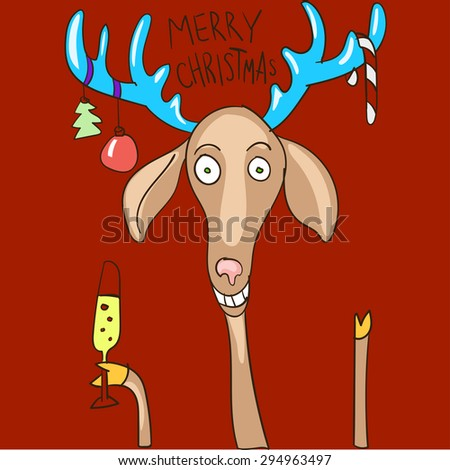Christmas background and greeting card with cartoon deer - stock vector