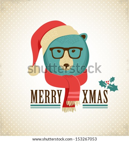 Christmas background and greeting card with hipster bear - stock vector