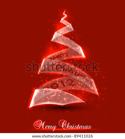 Christmas background. Christmas tree made from glass. Vector illustration. - stock vector