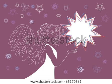Christmas background for congratulating on an angel and star - stock vector