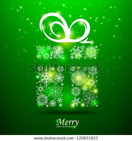 Christmas background. Gift box with ribbon. Vector Eps 10. - stock vector