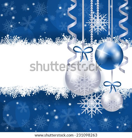 Christmas background in blue and silver with copy space, vector eps 10 - stock vector