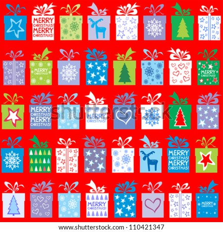 Christmas background in red color. Seamless pattern with gift boxes. Vector Illustration - stock vector