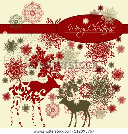 Christmas background. Retro style. - stock vector