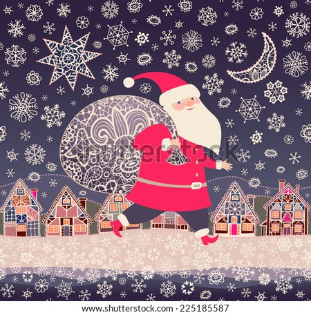 Christmas background. Santa Claus with a sack of Christmas gifts.  Seamless pattern with little town, lacy Xmas star, moon, and snowflakes .Vector illustration. - stock vector