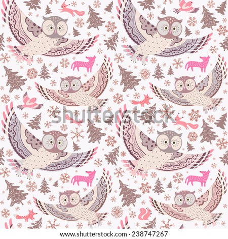 Christmas background. Seamless pattern with owls, forest animals, Xmas trees and snowflakes. Vector illustration. - stock vector