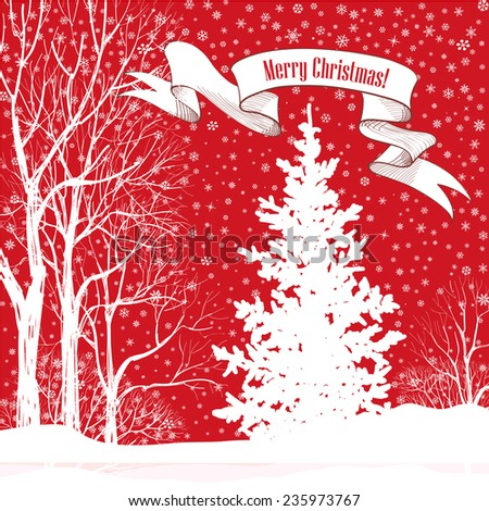 Christmas background. Snow winter landscape with fir tree. Merry Christmas greeting card.  - stock vector