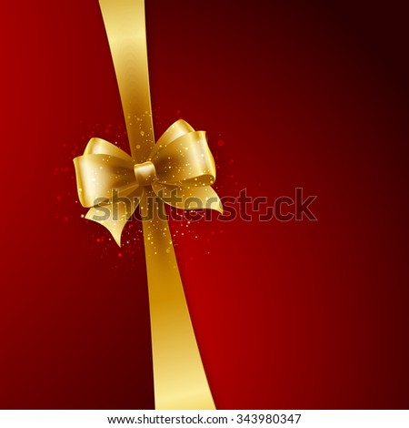 Christmas Background. Vector Design. Gold bow on red background - stock vector