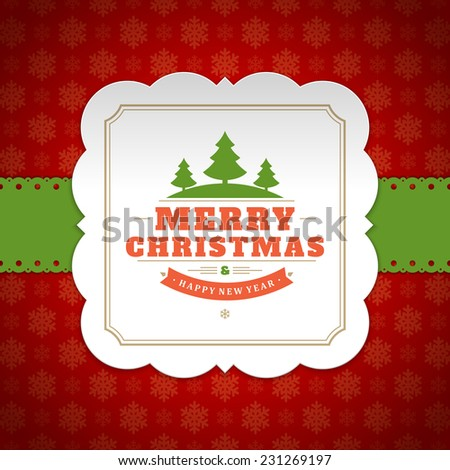 Christmas background vector image. Christmas card or invitation and snowflakes pattern. - stock vector