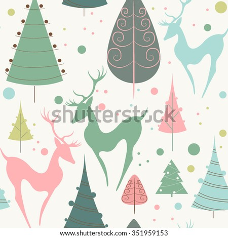 Christmas background. Vector seamless pattern. Vector illustration with christmas trees and deers - stock vector