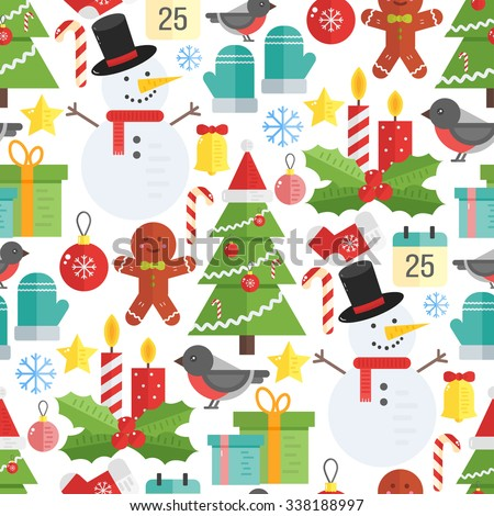 Christmas background, vector seamless pattern with christmas elements: tree, bullfinch, socks, candy, stars, snowman, mistletoe, gingerman, bell, mittens, gift and snowflakes. - stock vector