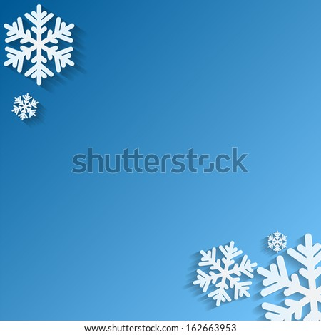 Christmas background.White snowflakes on blue background.background for New Year's greetings.winter abstraction.vector - stock vector