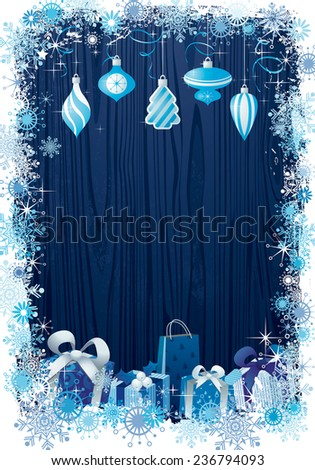 Christmas background winter frame design with decorations in blue - stock vector