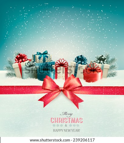 Christmas background with a bow and presents. Vector.  - stock vector