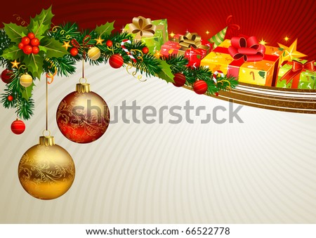 Christmas background with a branch of evergreen and gifts - stock vector