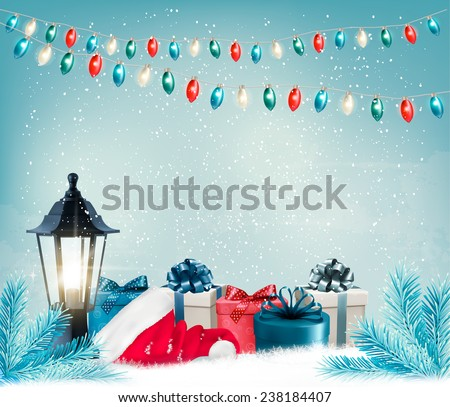 Christmas background with a lantern and presents. Vector.  - stock vector